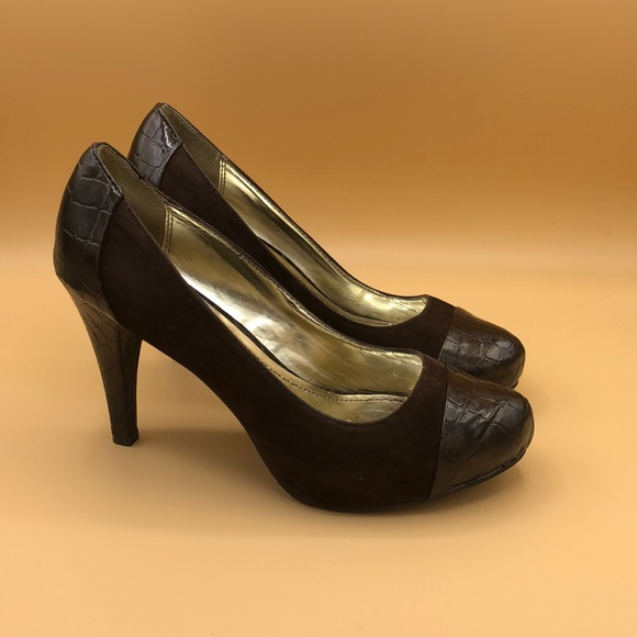 Style & Co Shoes - Style&Co brown suede/leather pumps